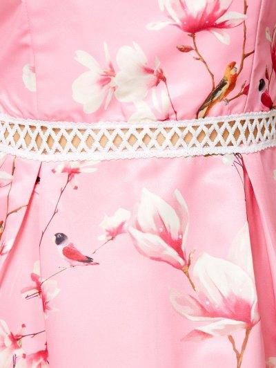 V Neck Floral Hollow Out Dress - PINK M Mobile