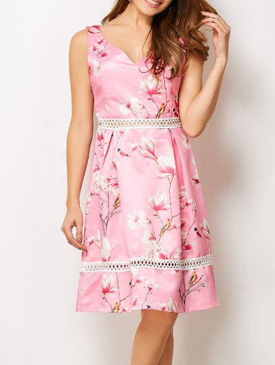 V Neck Floral Hollow Out Dress - PINK S Mobile
