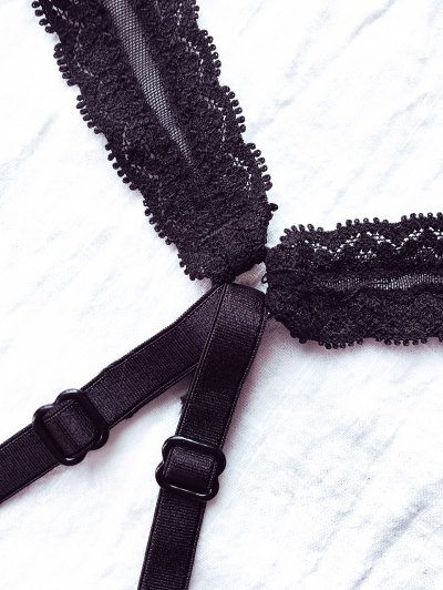 Plunging Neck Lace Bralette - BLACK M Mobile