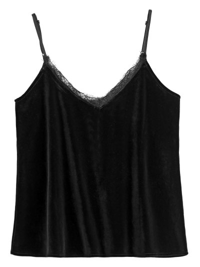 Eyelash Lace Velvet Camisole Top - BLACK L Mobile