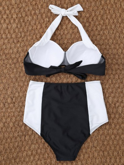 Underwire High Waisted Bikini - WHITE AND BLACK L Mobile