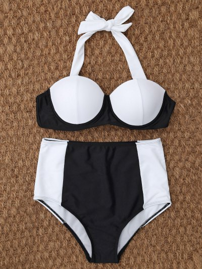 Underwire High Waisted Bikini - WHITE AND BLACK S Mobile