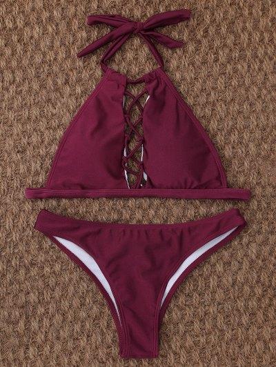 Crisscross Cutout High Neck Bikini - BURGUNDY L Mobile