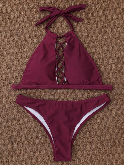 Crisscross Cutout High Neck Bikini - BURGUNDY M Mobile