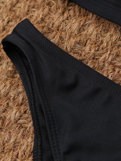 Crisscross Cutout High Neck Bikini - BLACK XL Mobile