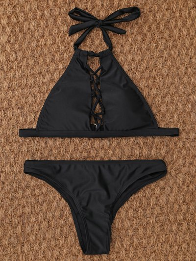Crisscross Cutout High Neck Bikini - BLACK M Mobile