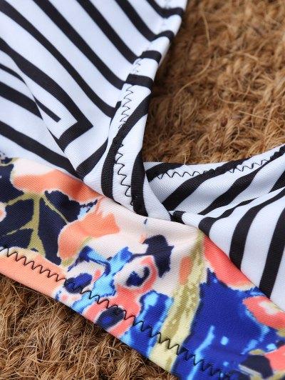 Stripe Leaf Print Halter Bikini - MULTICOLOR L Mobile