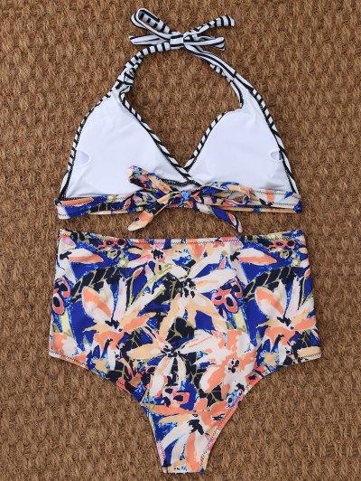 Stripe Leaf Print Halter Bikini - MULTICOLOR S Mobile