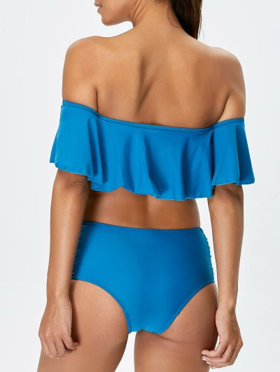Padded Ruffles Top With Cutout Briefs Bikini - PEACOCK BLUE S Mobile