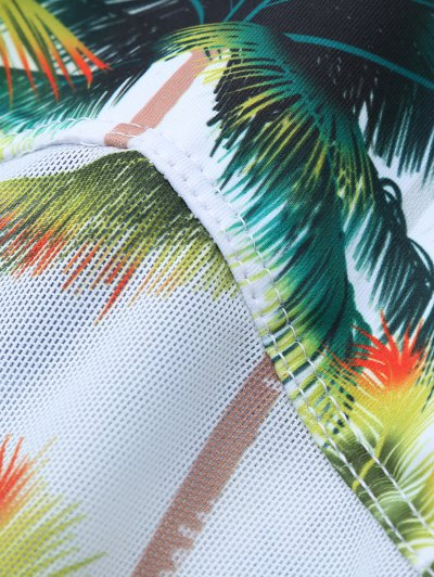 Coconut Palm Tree Print Swimsuit - WHITE XL Mobile