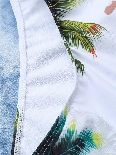 Coconut Palm Tree Print Swimsuit - WHITE L Mobile