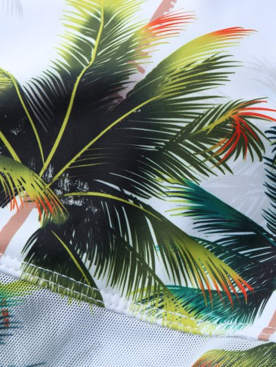 Coconut Palm Tree Print Swimsuit - WHITE S Mobile