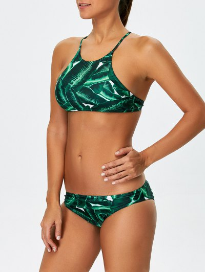 Women Leaves Print Bikini Set - GREEN S Mobile