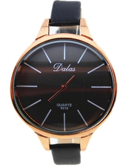 Faux Leather Curved Analog Watch - BLACK  Mobile
