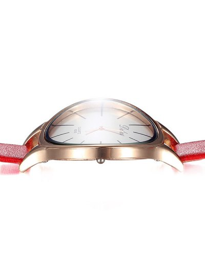 Faux Leather Curved Analog Watch - RED  Mobile