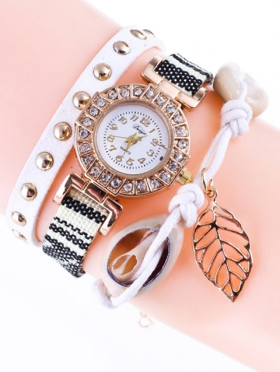 Braided Rhinestone Strand Bracelet Watch - WHITE  Mobile
