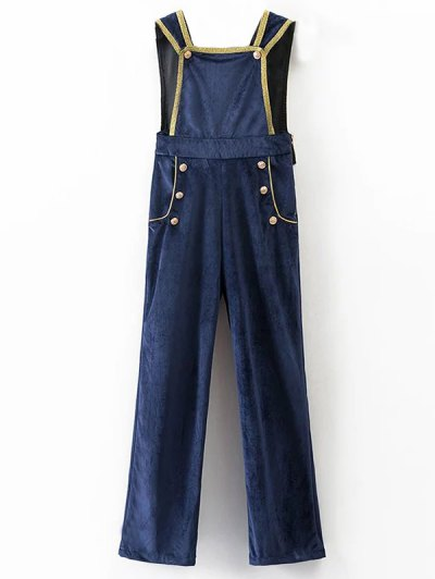 Velour Sailor Overalls - BLUE S Mobile