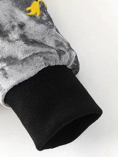 Velvet Embroidered Padded Jacket - LIGHT GRAY S Mobile