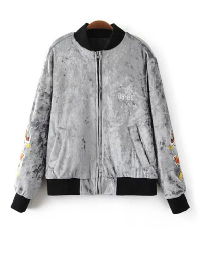 Velvet Embroidered Padded Jacket - LIGHT GRAY L Mobile
