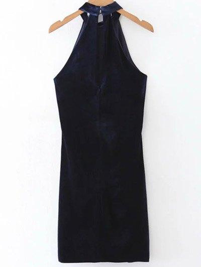 Halter Velvet Bodycon Dress - PURPLISH BLUE L Mobile