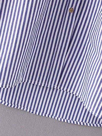 Single-Breasted Striped Shift Shirt Dress - STRIPE S Mobile