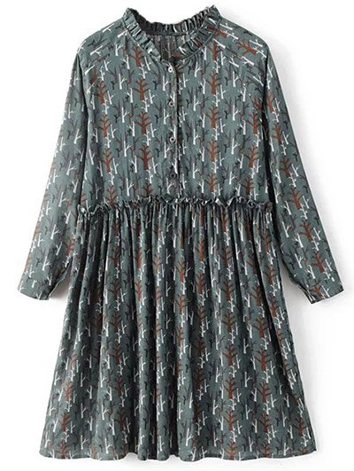 Tree Print Ruff Collar Smock Dress - GREEN GREY S Mobile
