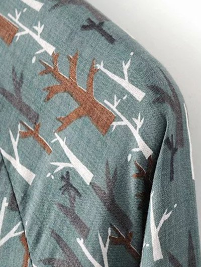 Tree Print Ruff Collar Smock Dress - GREEN GREY M Mobile