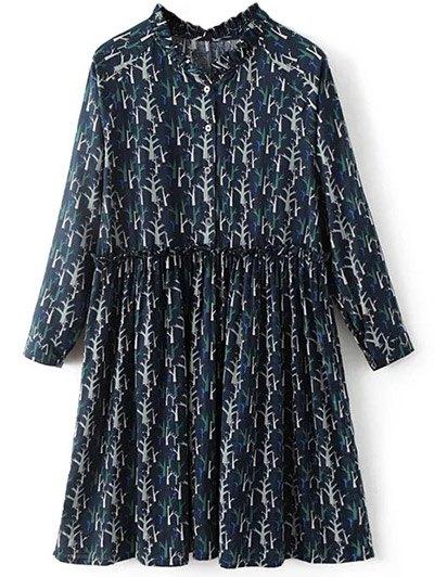 Tree Print Ruff Collar Smock Dress - DEEP BLUE S Mobile