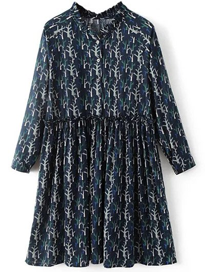 Tree Print Ruff Collar Smock Dress - DEEP BLUE L Mobile