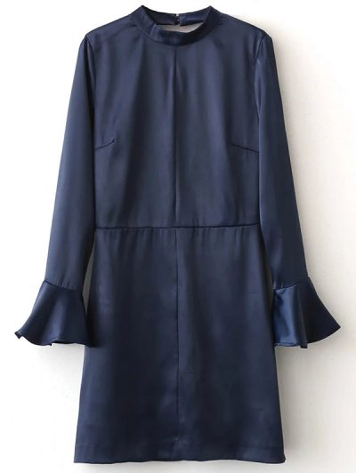 Bell Sleeve Cut Out Dress - BLUE L Mobile