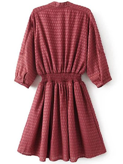 Hollow Out Shirred Dress - RED M Mobile