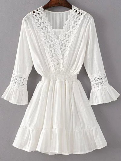 Shirred Lacework Dress - WHITE S Mobile