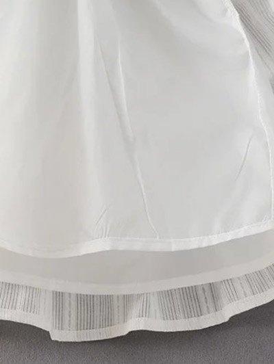 Shirred Lacework Dress - WHITE M Mobile