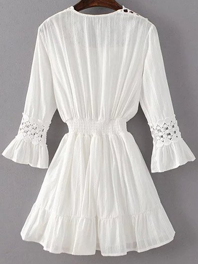Shirred Lacework Dress - WHITE L Mobile