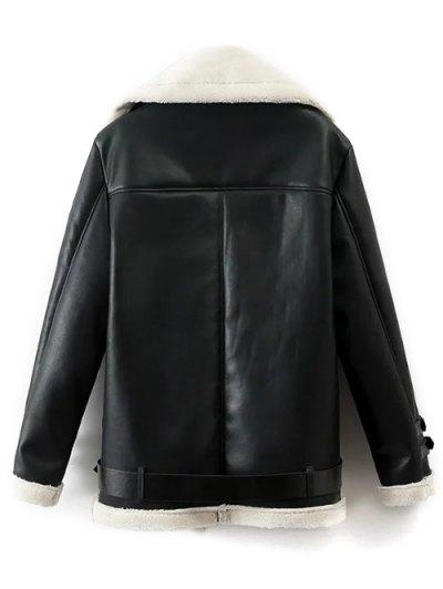 Lapel Faux Shearling Biker Jacket - BLACK M Mobile