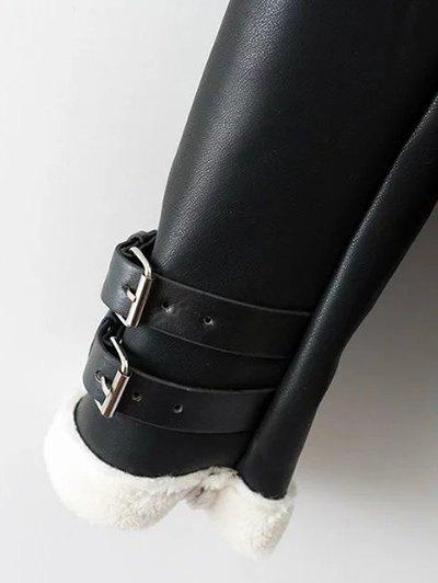 Lapel Faux Shearling Biker Jacket - BLACK L Mobile