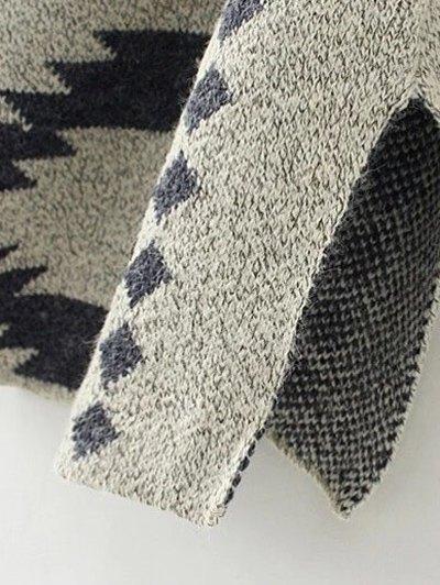 Contrast PU Leather Geometric Cardigan - KHAKI M Mobile