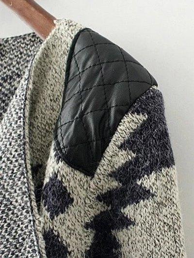Contrast PU Leather Geometric Cardigan - KHAKI L Mobile