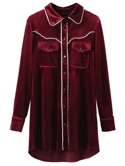 Contrast Piped Velvet Shirt Dress - BURGUNDY S Mobile