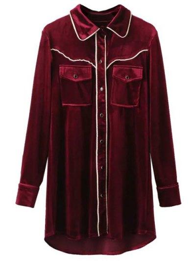 Contrast Piped Velvet Shirt Dress - BURGUNDY M Mobile