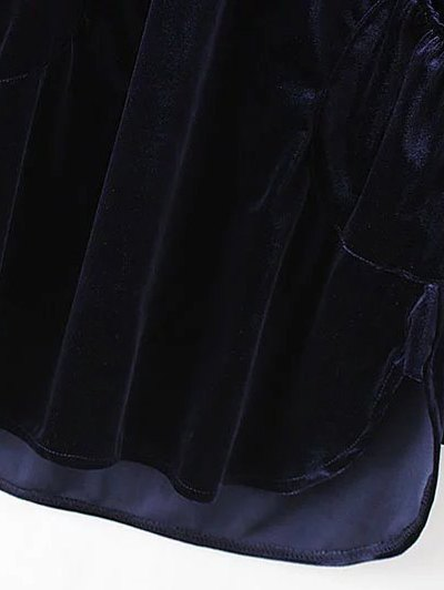 Mini Velvet Tunic Dress - PURPLISH BLUE M Mobile