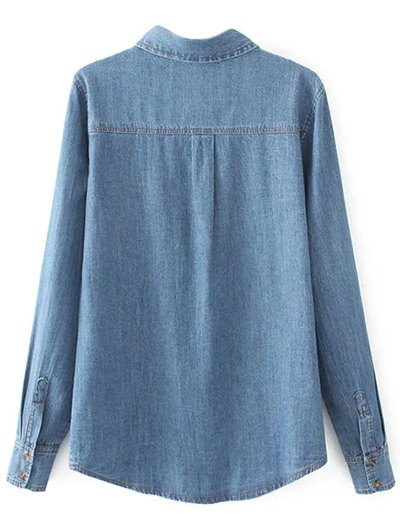Embroidered Yoke Denim Shirt With Pockets - DENIM BLUE S Mobile