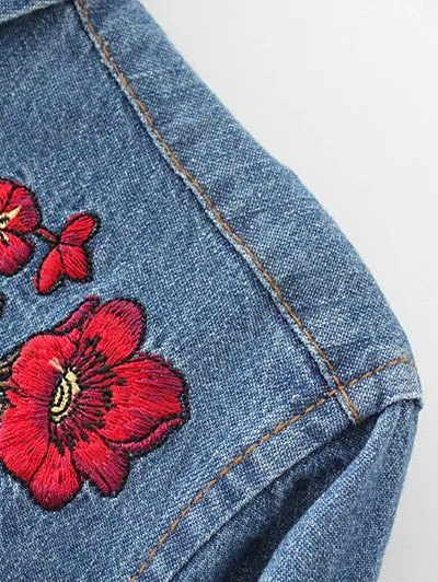 Embroidered Yoke Denim Shirt With Pockets - DENIM BLUE M Mobile