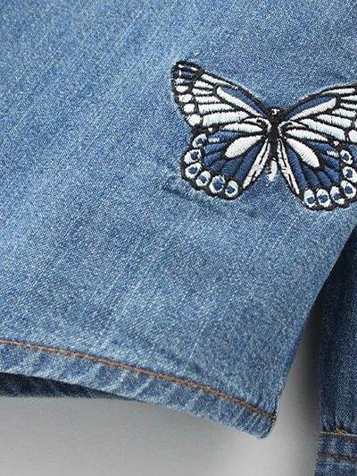 Embroidered Yoke Denim Shirt With Pockets - DENIM BLUE L Mobile