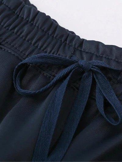 Side Stripe Buttoned Hem Sports Pants - PURPLISH BLUE M Mobile