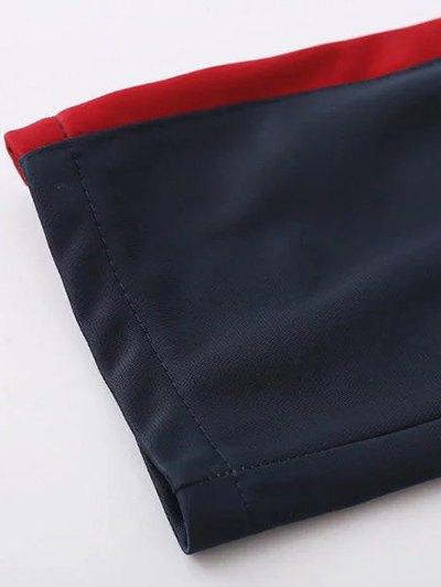 Side Stripe Buttoned Hem Sports Pants - PURPLISH BLUE L Mobile