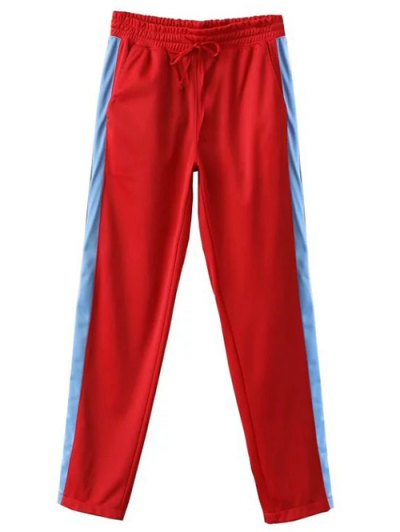 Side Stripe Buttoned Hem Sports Pants - RED S Mobile