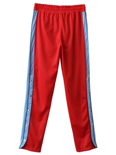 Side Stripe Buttoned Hem Sports Pants - RED M Mobile