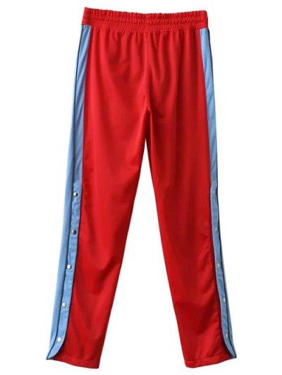Side Stripe Buttoned Hem Sports Pants - RED L Mobile