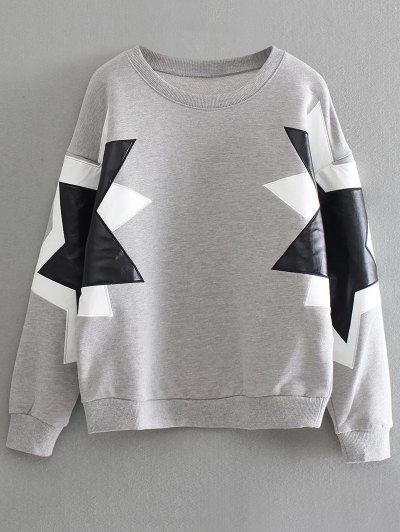 PU Leather Pentagram Pattern Sweatshirt - GRAY ONE SIZE Mobile